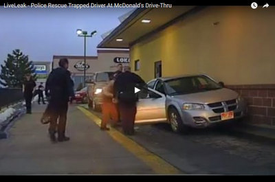 Video: Responders rescue man trapped in McDonald's drive-thru